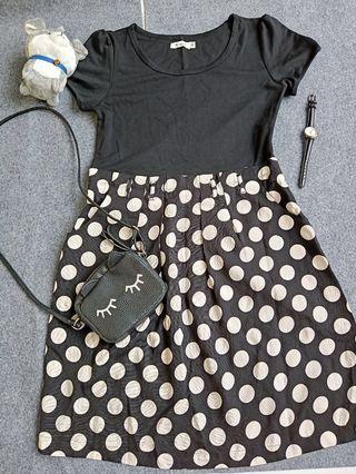 black polkadot dress