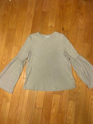 Mendo Nude Ribbed Trumpet Sleeve Blouse