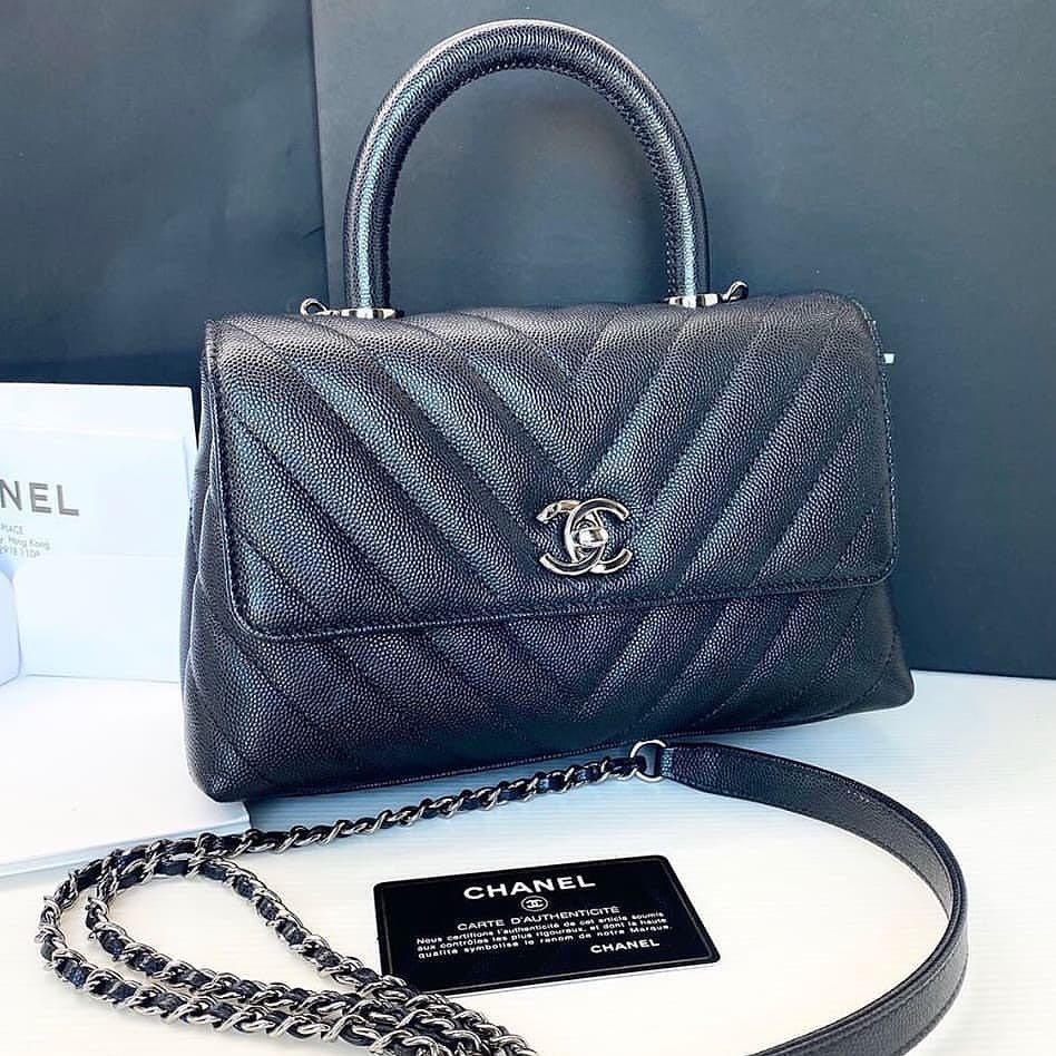 Authentic 💯 Chanel Coco Handle Small Black Caviar Chevron Silver Hardware Flap Bag series 28 Full Set