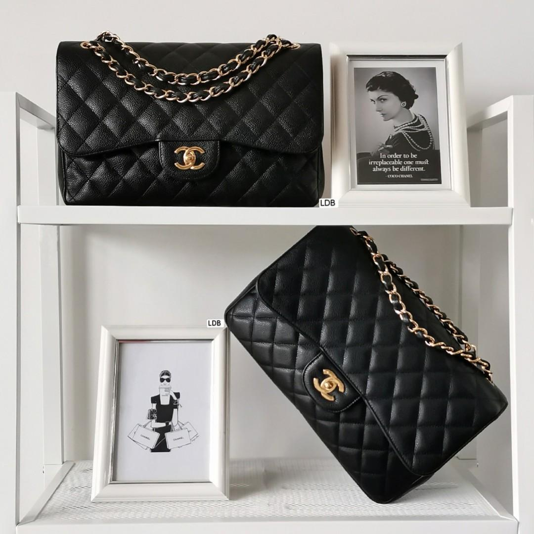 Authentic Chanel Classic Jumbo Black Caviar with Gold Hardware Double Flap Bag