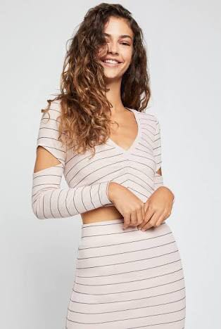 bcbg generation rose long sleeved crop striped with arm cut out