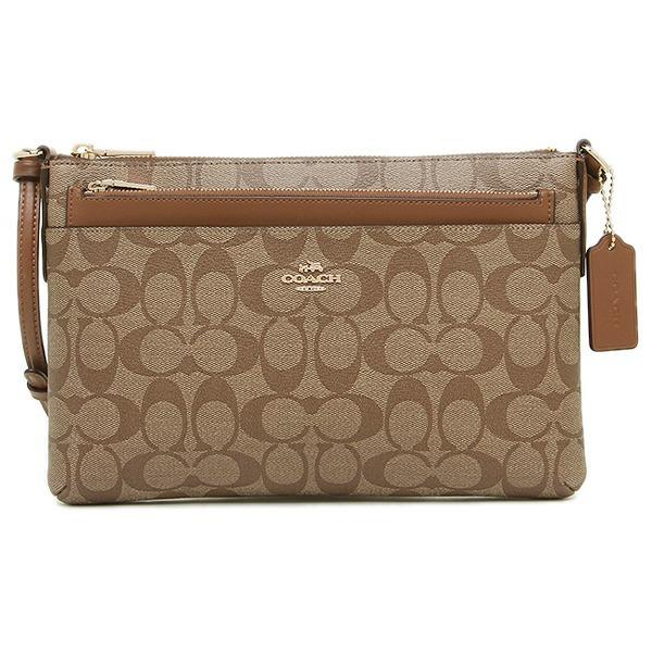 BRAND NEW COACH EAST/WEST CROSSBODY WITH POP-UP POUCH IN SIGNATURE COATED CANVAS (F58316) LIGHT GOLD/KHAKI
