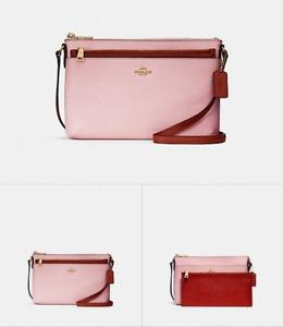 BRAND NEW EAST/WEST CROSSBODY WITH POP-UP POUCH IN COLOR BLOCK (F28382) BLUSH/TERRACOTTA/LIGHT GOLD