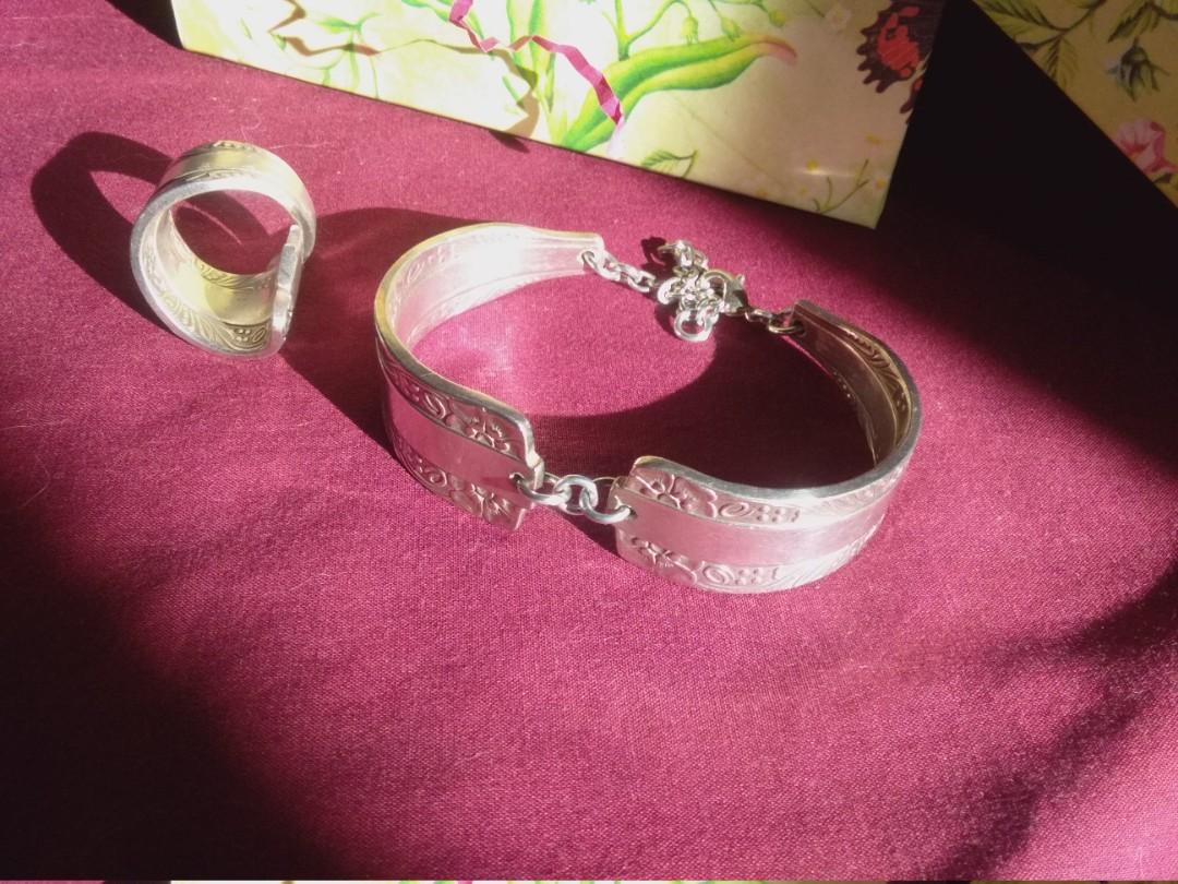 New Hand Crafted  Antique Silver Spoon Bracelet & Ring
