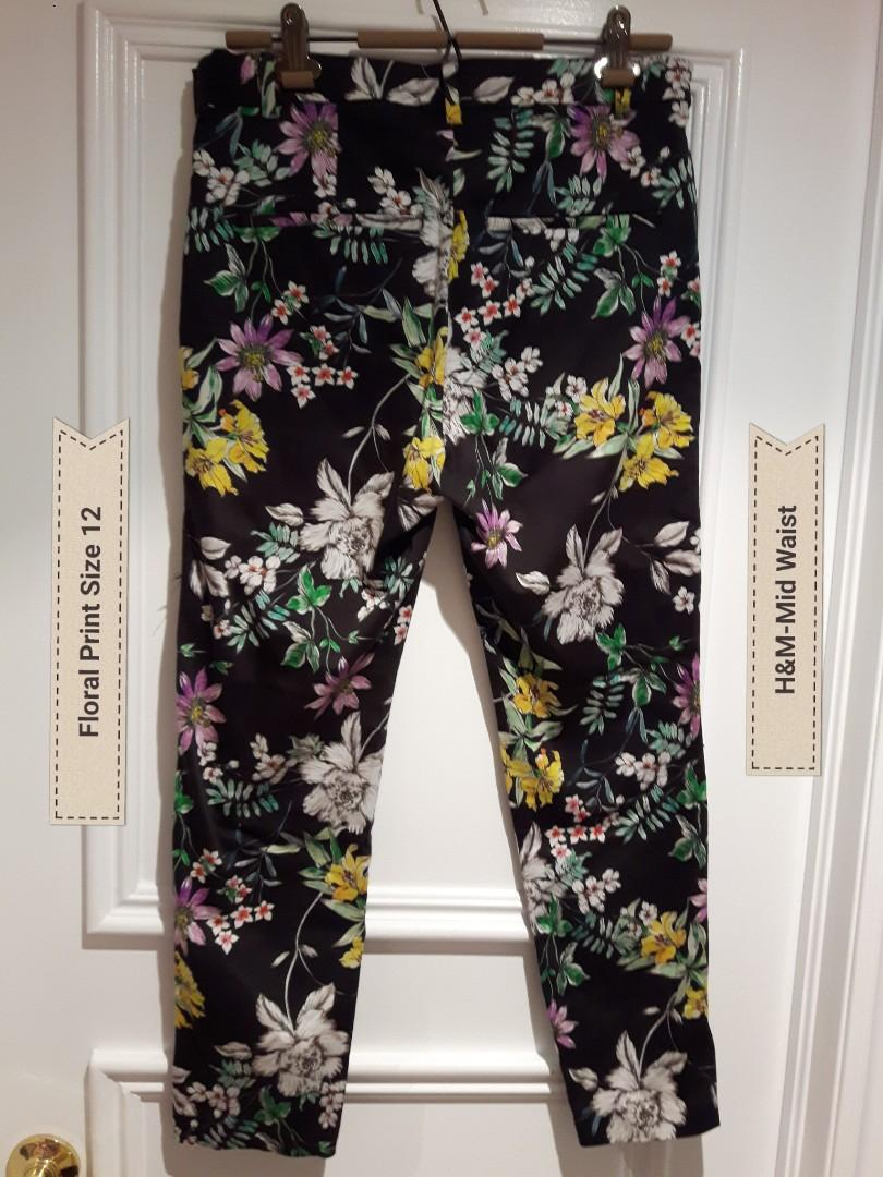 H&M Black Floral Print Ankle length Slacks Size 12 °Stretch fabric  °Mick back pocket °Tapered leg