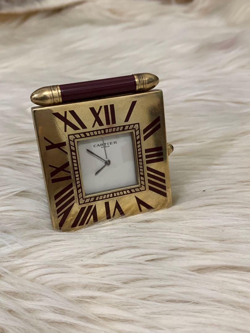 Jam meja Cartier authentic, mulus 90% OK, gold plated, 6 cm x 5 cm, mewah langka serius aja!mesin normal, replace box
