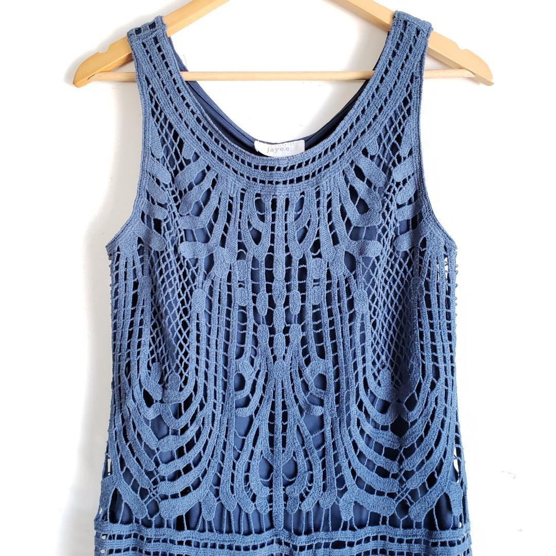 Jaye.e Lace Midi Sleeveles Dress Blue Size Medium.