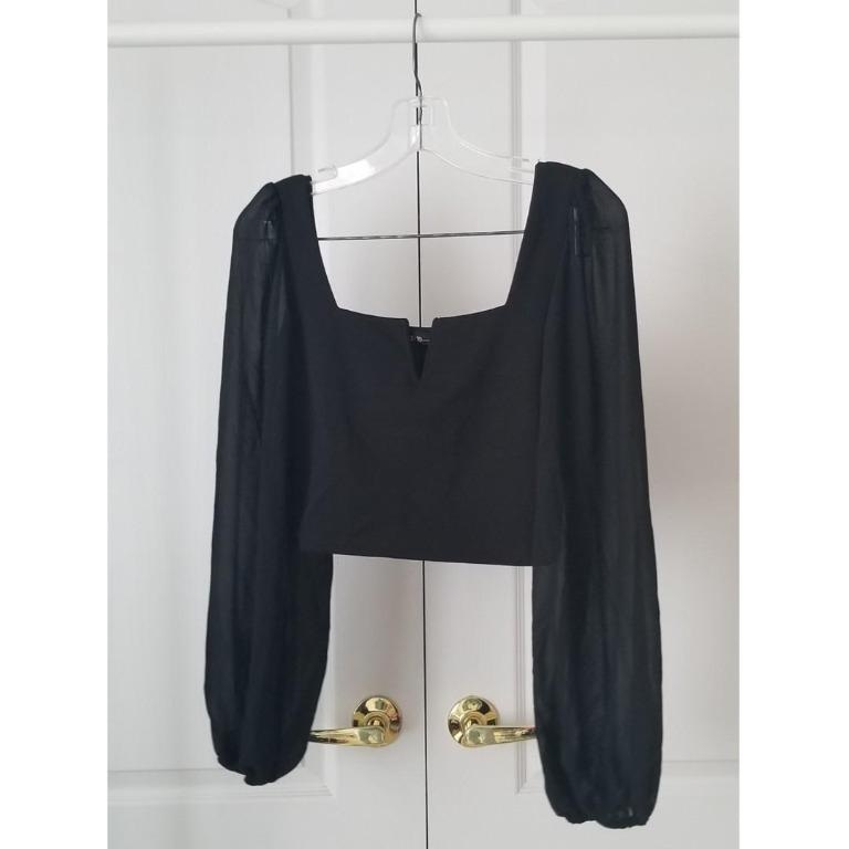 NWT! M Boutique Square-Neck Puffy Sleeve Blouse (Black)