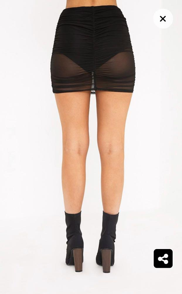 Pretty little thing chelle black ruched sheer mini skirt
