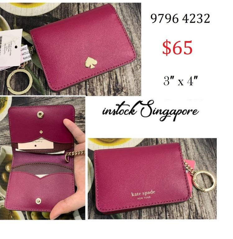 READY STOCK authentic new Kate Spade Nadine Slim Bifold Card Holder Wallet with Key Ring WLRU5493