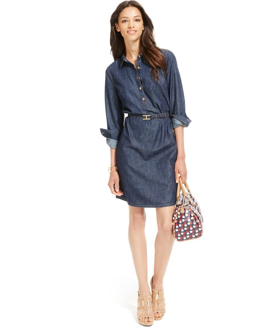 Tommy Hilfiger Belted Denim Shirt Dress Size Large