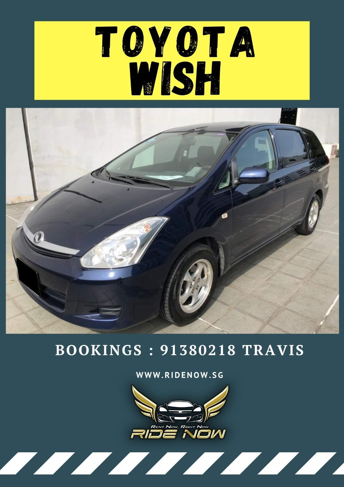 Toyota Wish 1.8A Spacious fuel efficient MPV for all day usage! Private Hire Ready!