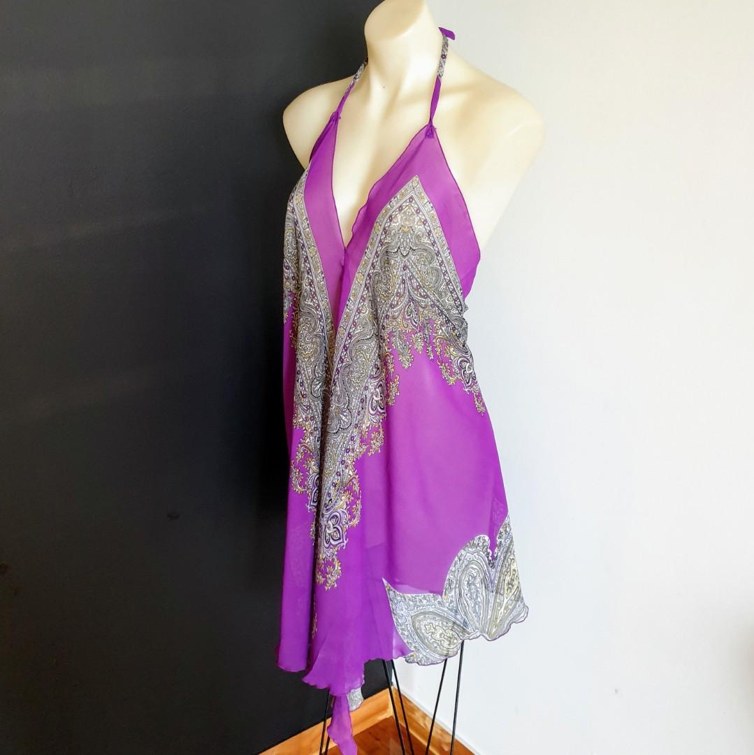 Women's size L Stunning handmade silk sheer halter dress/beach cover- AS NEW