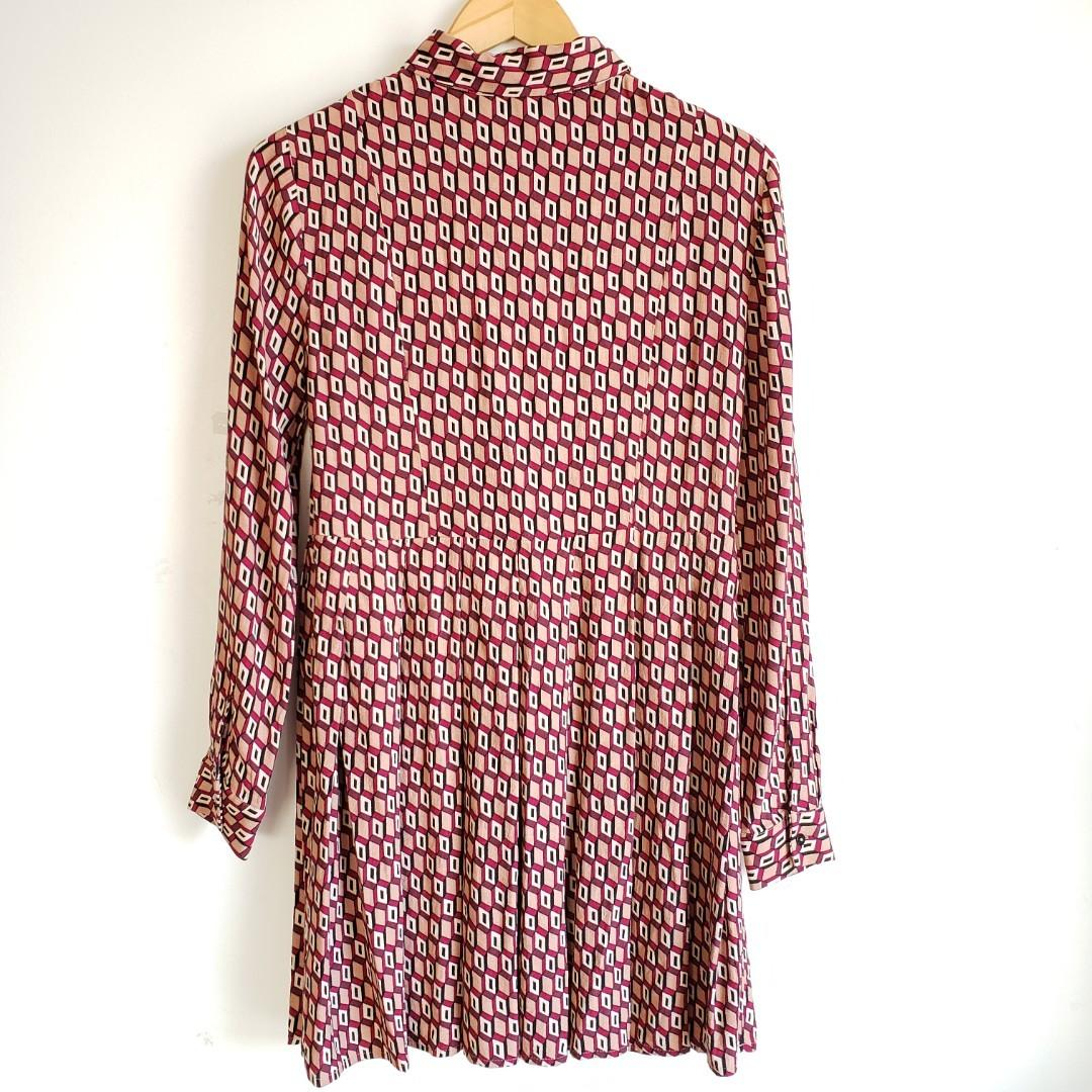 Zara Woman Vintage Style Patterned Bow tie Dress Size Small.
