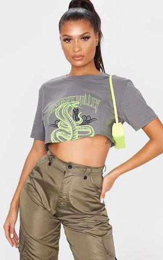 Grey cropped graphic tee