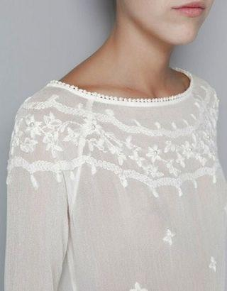 Zara Sheer long sleeves Top with flower embroidery and pearls