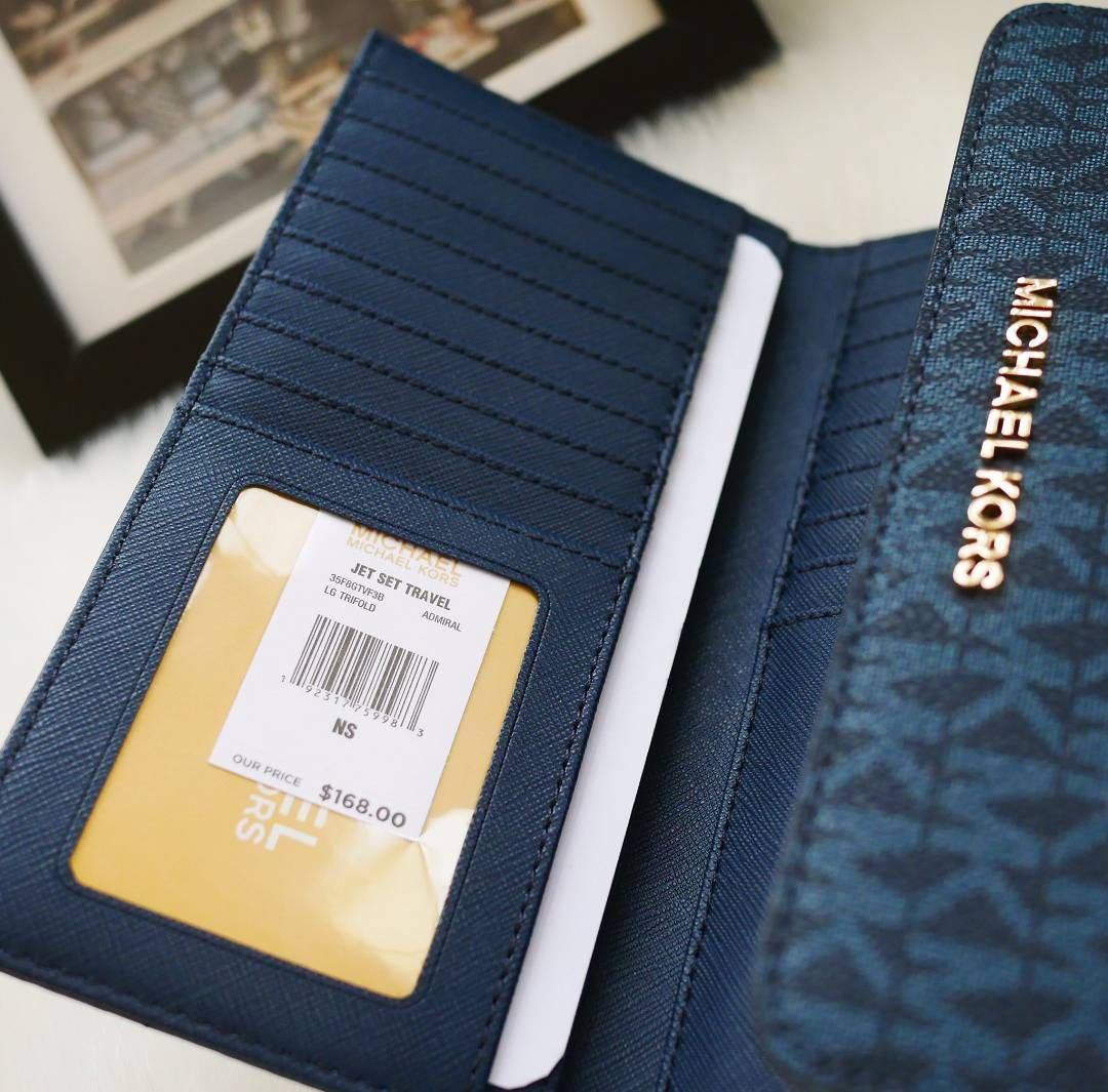 "Authentic Michael Kors Women's Jet Set Travel Large Trifold Wallet ADMIRAL ➰7.12""W X 4""H X 0.75""D"