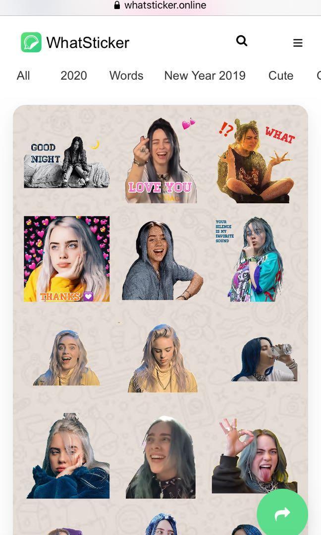 Billie Eilish WhatsApp stickers (total 30個)