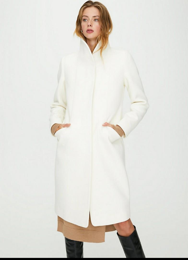 NWT Aritzia Babaton white Cocoon Wool Coat Long XXS