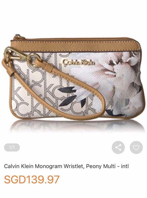 Calvin Klein. CK. Women. Wristlet. Handbag. Clutch. Wallet. Leather. Genuine Leather. Monogram Peony Multi. AUTHENTIC. Similar item avail on Lazada at $139.97(see picture).