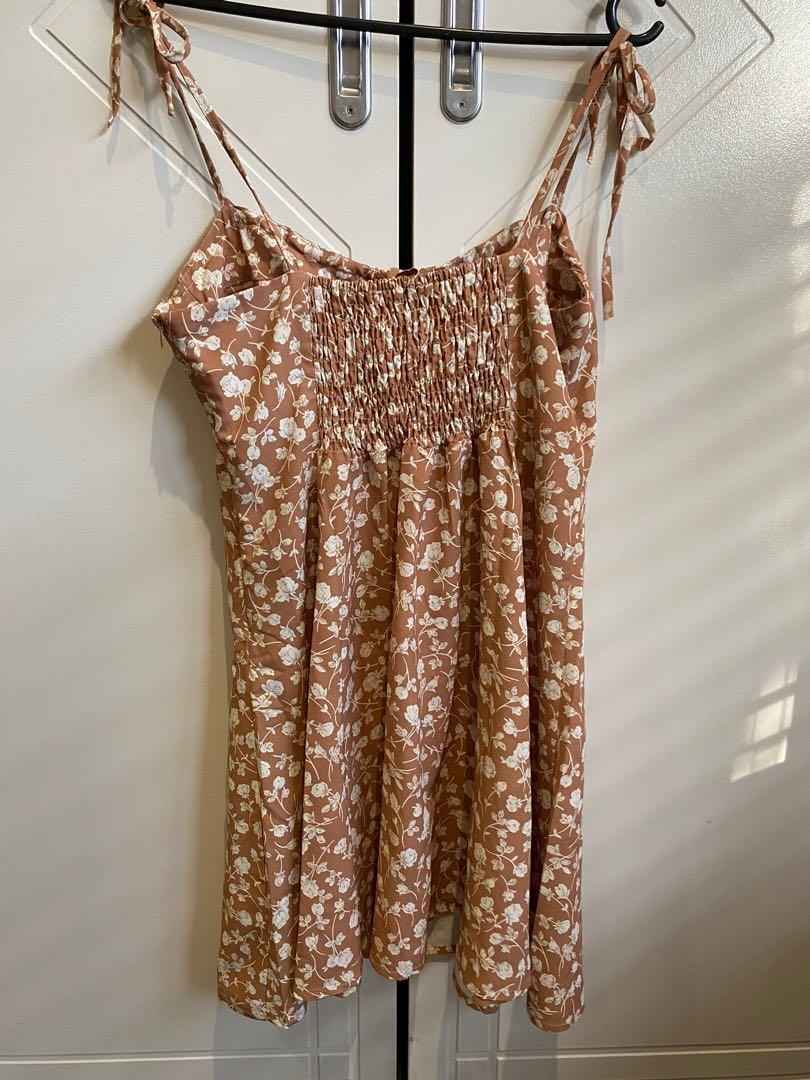 Charcoal clothing tan dress with adjustable tie up straps
