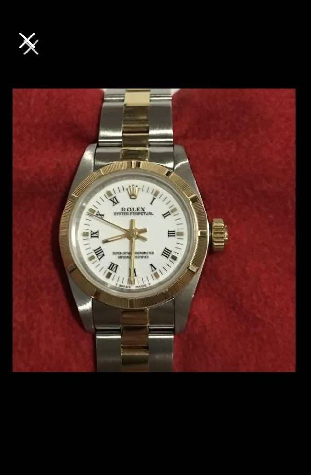 CLEARANCE SALES {Luxury Dress Watch - ROLEX} Authentic ROLEX Ladies OYSTER PERPETUAL SUPERLATIVE CHRONOMETER OFFICIAL CERTIFIED 26mm White Roman Number Dial Model 67233  Come With Original Certificate, Original Gold Bezel & Half Gold Jubilee Bracelet