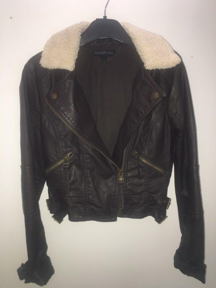 Forever new brown leather jacket with woolen detail, size 12