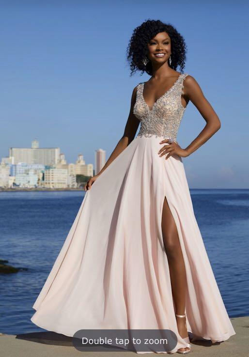 Light Pink Embellished Prom Dress with Slit and Open Back
