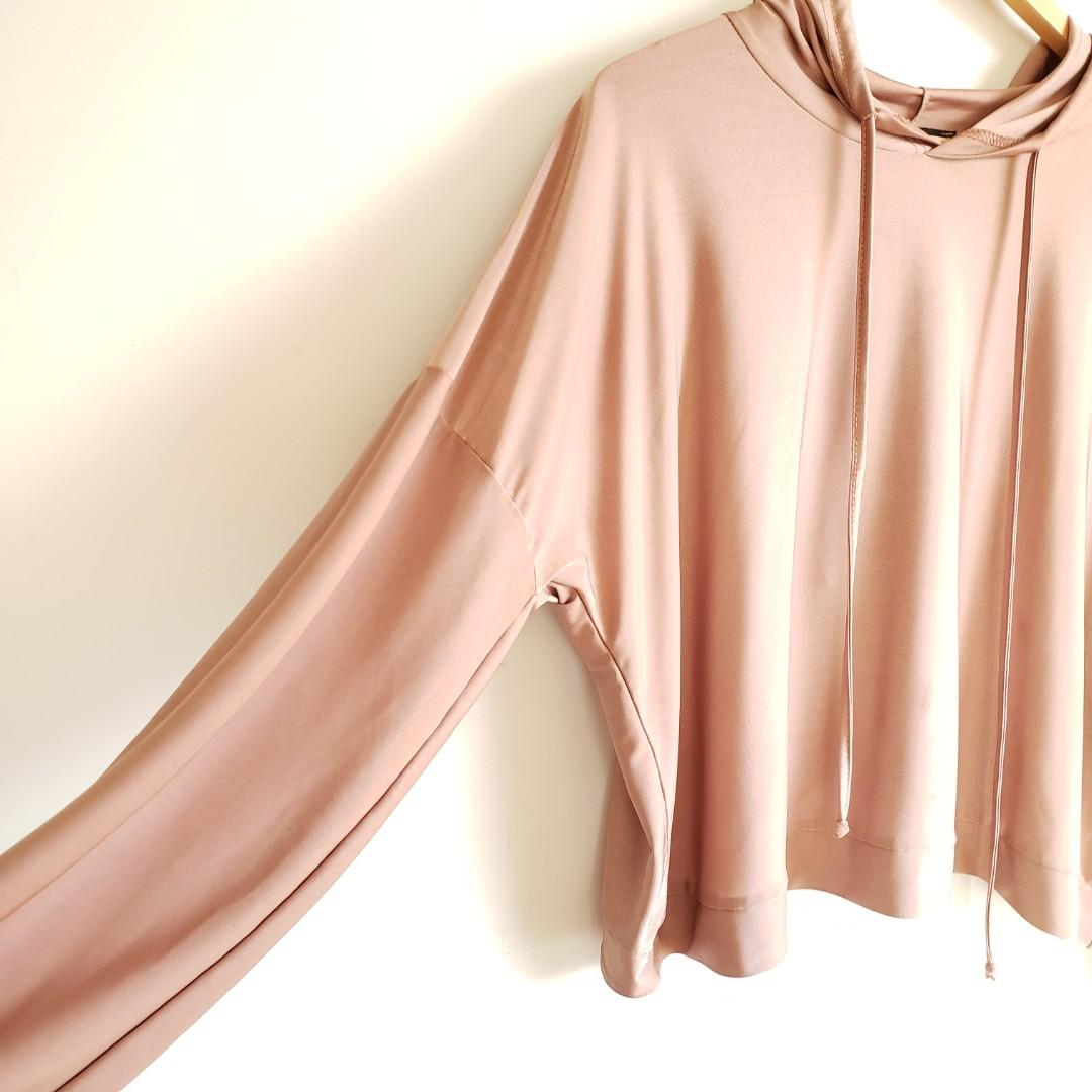Missguided Cross Back Hoodie Light Pink Size Large.