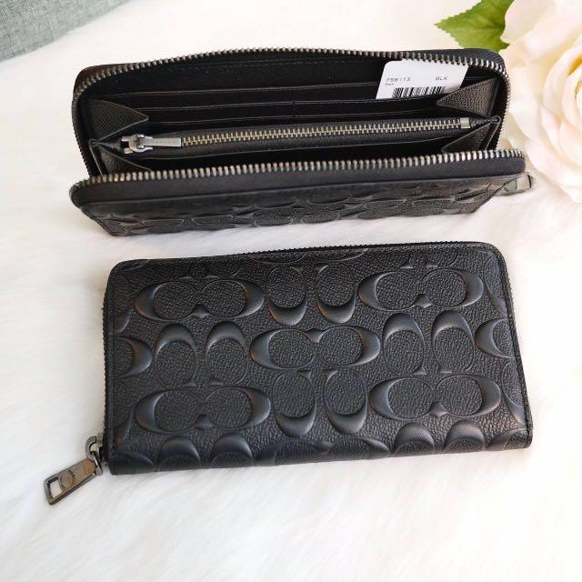 "New Coach Authentic100% ##lnstock  ACCORDION WALLET (COACH F58113) BLACK➰7 1/2"" (L) x 4"" (H) 🌟195$ 