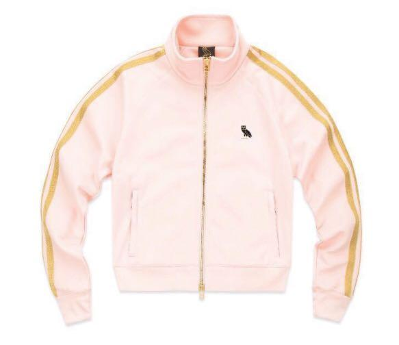 New Drake OVO women's Owl Patch Pink/Gold Track Jacket