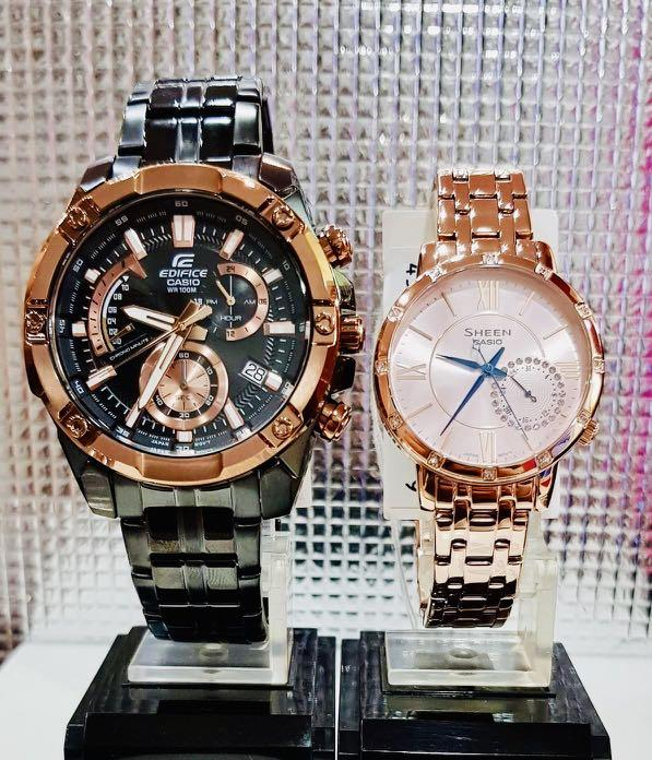 NEW🌟COUPLE💝SET : SHEEN🌟EDIFICE UNISEX DIVER SPORTS WATCH  : 100% ORIGINAL AUTHENTIC CASIO BABY-G-SHOCK ( G-SHOCK ) Company : EFR-559DC-1BV + SHE-3046PG-4A