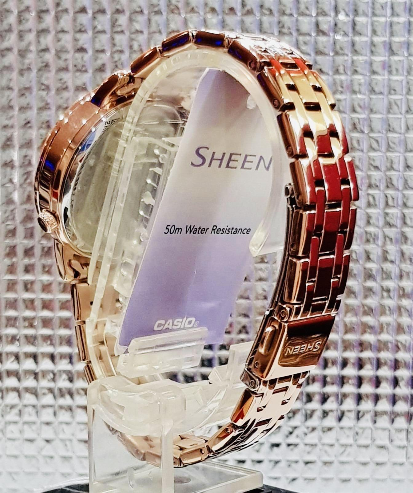 NEW🌟SHEEN GLAMOUR WATCH : 100% ORIGINAL AUTHENTIC CASIO SHEEN BABY-G SHOCK ( GSHOCK )  : Swarovski Crystal & Element : SHE-3046PG-4AUDR (ROSE-GOLD)