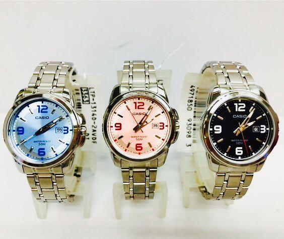 NEW🌟TOUGH CASIO UNISEX SPORTS WATCH : 100% ORIGINAL AUTHENTIC : By BABY-G-SHOCK ( EDIFICE GSHOCK ) COMPANY : LTP-1314D-2AVDF (SILVER-ROSE BLUE)