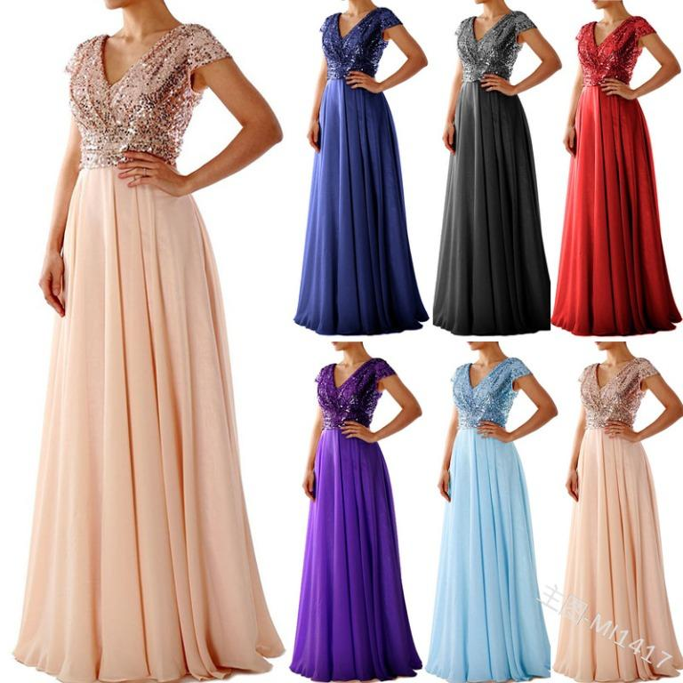 Pre Order Rose Gold Black Purple Grey Blue Red Green Sequin Wedding Evening Prom Dress Gown Rbp1310 Women S Fashion Clothes Dresses Skirts On Carousell