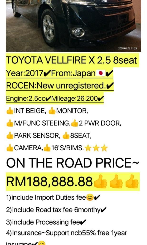TOYOTA VELLFIRE X 2.5 8seat  Year:2017✔From:Japan🇯🇵✔ 📱0⃣1⃣2⃣2⃣3⃣6⃣7⃣2⃣7⃣2⃣