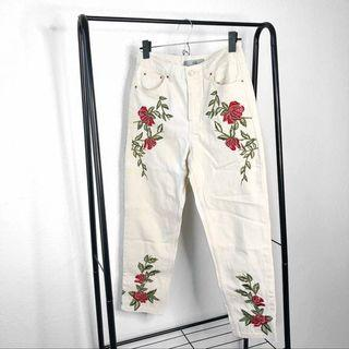Topshop white embroidered mom jeans