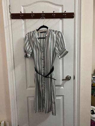 Zara striped belted dress