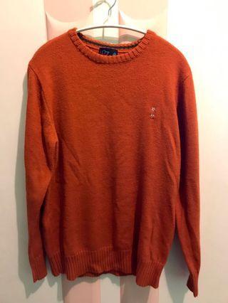 古著暖橘針織毛衣