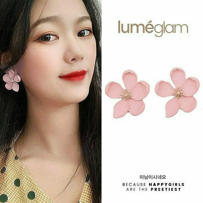 Anting Korea Silver Needle Sweet Metal Flower Earrings KoreanAnting Tusuk Anting Tassel