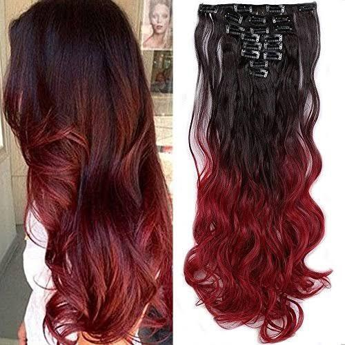 Black and Burgundy ombre 21 inch clip in 100% human hair extensions