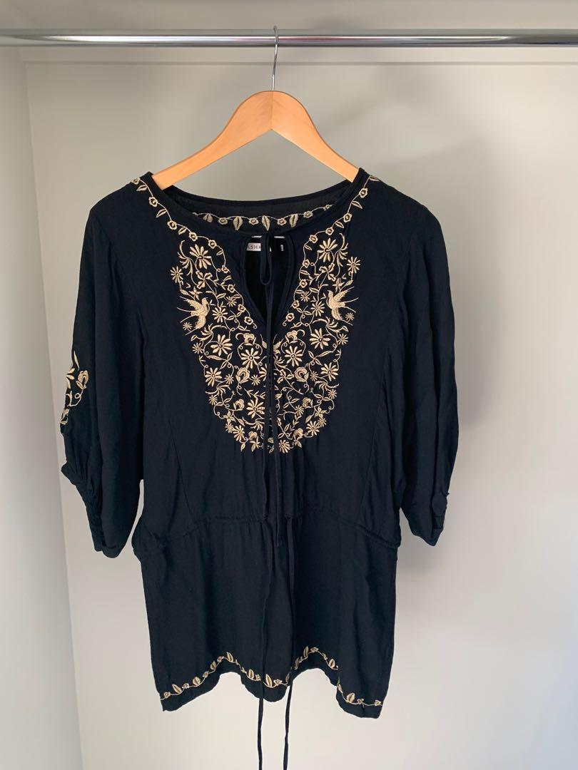Black Boho Style Lightweight Top with Embroidery Size 8