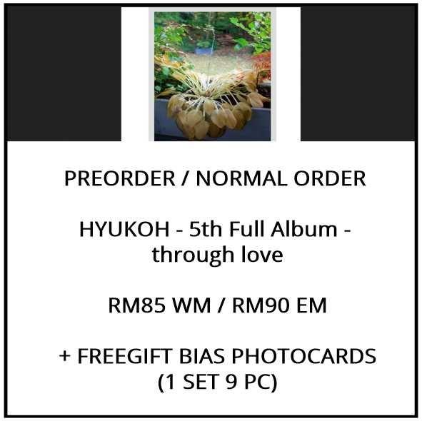 HYUKOH - 5th Full Album -  through love - PREORDER/NORMAL ORDER/GROUP ORDER/ALBUM GO + FREE GIFT BIAS PHOTOCARDS (1 ALBUM GET 1 SET PC, 1 SET GET 9 PC)