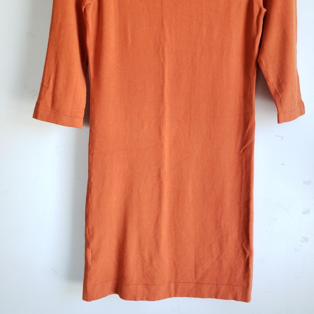 Luisa Cerano Bow Tie Midi Dress Orange Size Small.