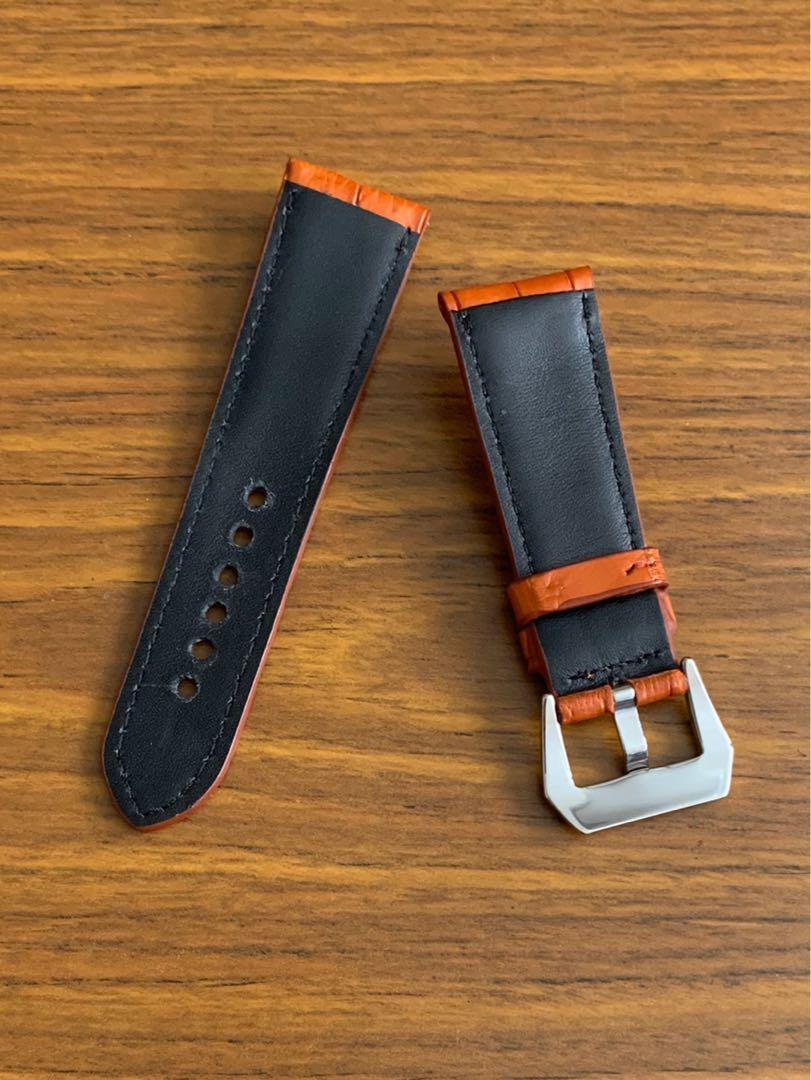26mm/22mm Authentic Orange Brown Crocodile Alligator 🐊 Watch Strap (last and only piece, never coming again! 🙏🏻😊) (Hermes Orange colour, (NOT HERMES BRAND)) standard length: L-120mm, S-75mm
