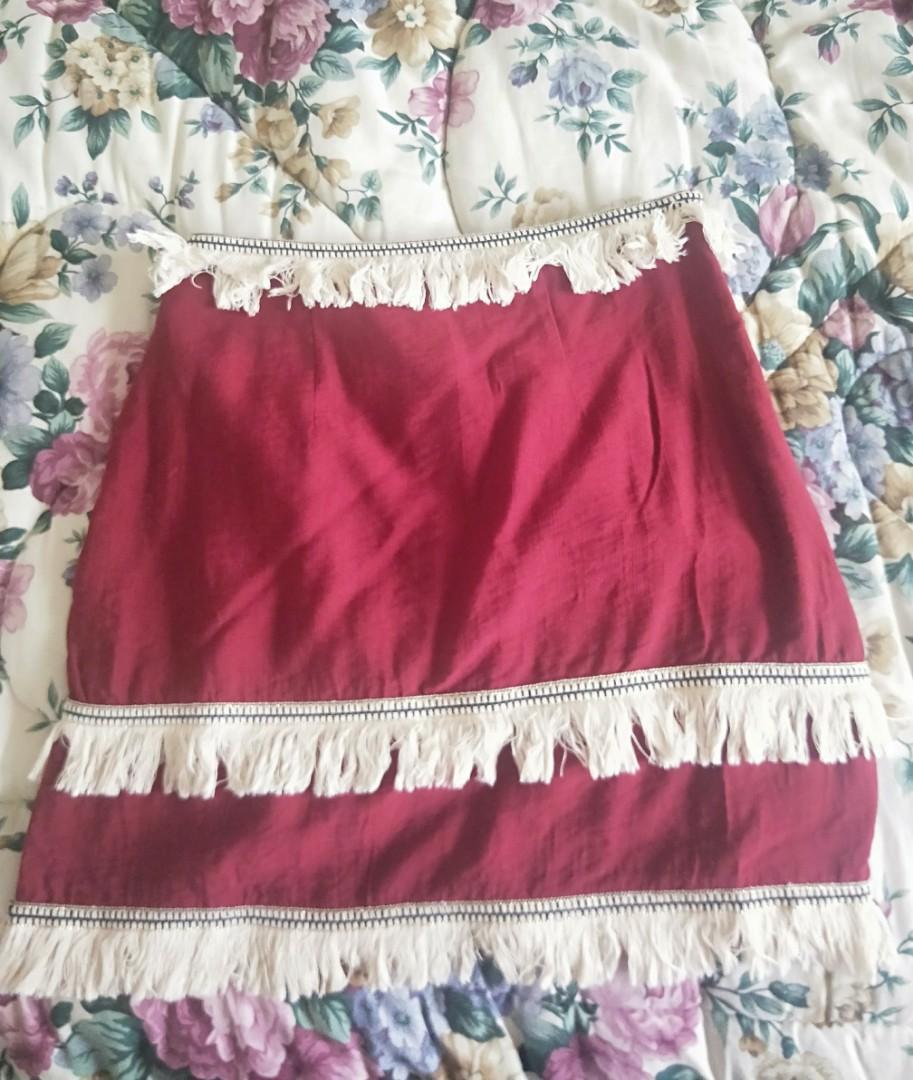 Melrose Avenue Boutique, Indikah -  Red Frilled Skirt
