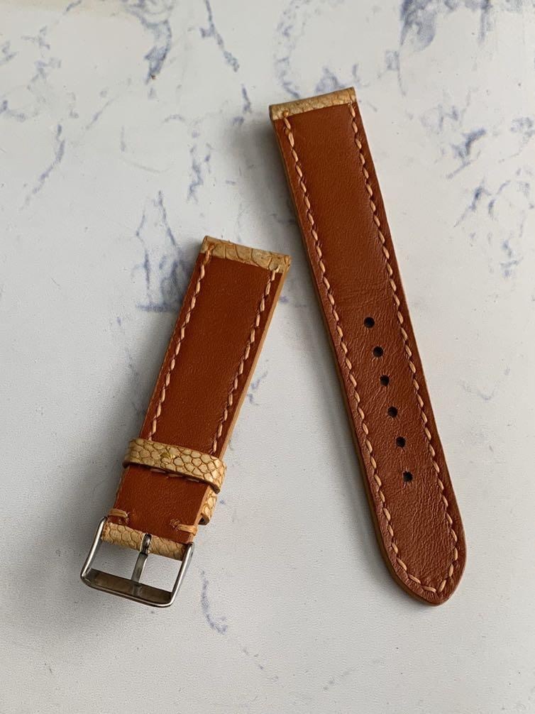 20mm/18mm Authentic Light Brown Ostrich Leg Watch Strap (only one pièce once gone never coming back 🙏🏻🙏🏻) Standard Length- L:120mm S:75mm