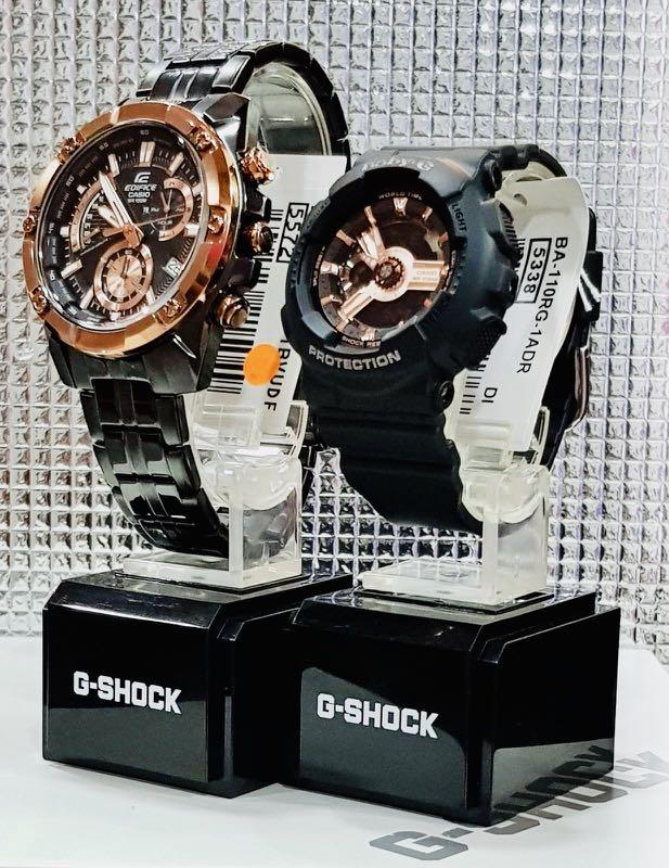 NEW🌟COUPLE💝SET : BABYG🌟EDIFICE DIVER SPORTS WATCH  : 100% ORIGINAL AUTHENTIC CASIO CASIO BABY-G-SHOCK ( GSHOCK ) Company : EFR-559DC-1B + BA-110RG-1A (ROSE-PINK)