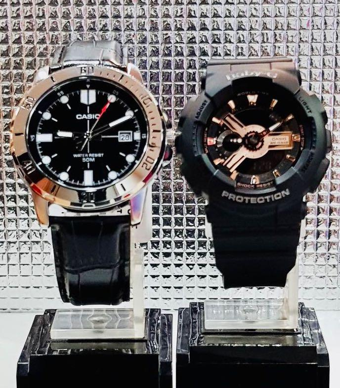 NEW🌟COUPLE💝SET : CASIO🌟GSHOCK UNISEX DIVER SPORTS WATCH  : 100% ORIGINAL AUTHENTIC BABY-G-SHOCK ( BABYG ) Company : BA-110RG-1A + MTP-VD01L-1E