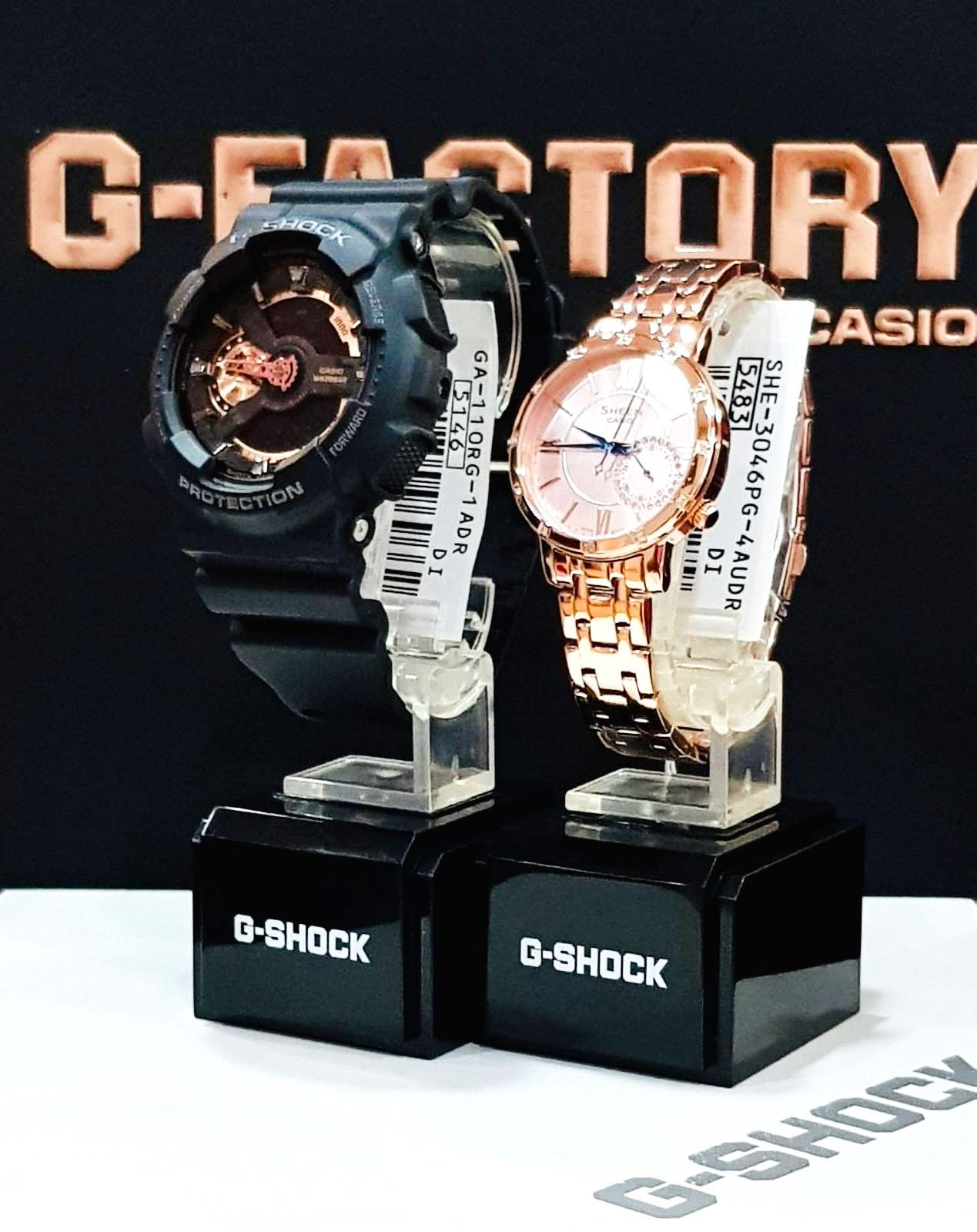 NEW🌟COUPLE💝SET : SHEEN🌟GSHOCK UNISEX DIVER SPORTS WATCH  : 100% ORIGINAL AUTHENTIC CASIO BABY-G-SHOCK ( BABYG + GSHOCK ) Company : GA-110RG-1A + SHE-4056PG-4A (ROSE-GOLD)